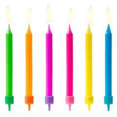 PartyDeco Velas de Cumpleaños Mix de Colores 6u