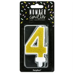 PartyDeco Vela Cumpleaños Número 4 - Oro