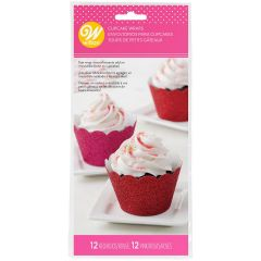 Wilton Cupcake Wrappers Glitter Red & Pink pk/24