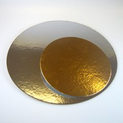 FunCakes Cake Card Gold/Silver -Round- 26cm pk/3