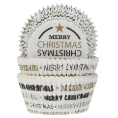 House of Marie Baking Cups Merry Christmas pk/50