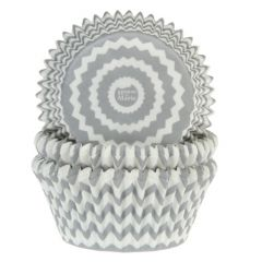 House of Marie Baking Cups Chevron Silver pk/50