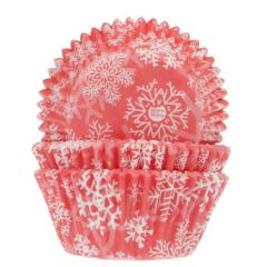 House of Marie Baking Cups Snow Crystal Red pk/50