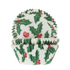 House of Marie Baking Cups Christmas Holly Leaf pk/50