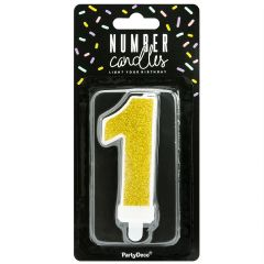 PartyDeco Birthday Candle Number 1 - Gold