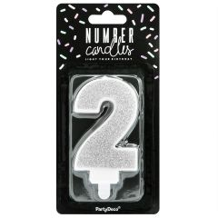 PartyDeco Birthday Candle Number 2 - Silver