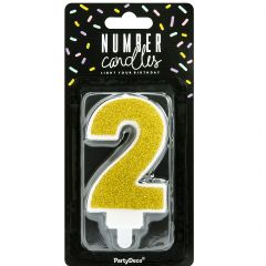 PartyDeco Birthday Candle Number 2 - Gold