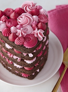 Tickled pink layered heart cake